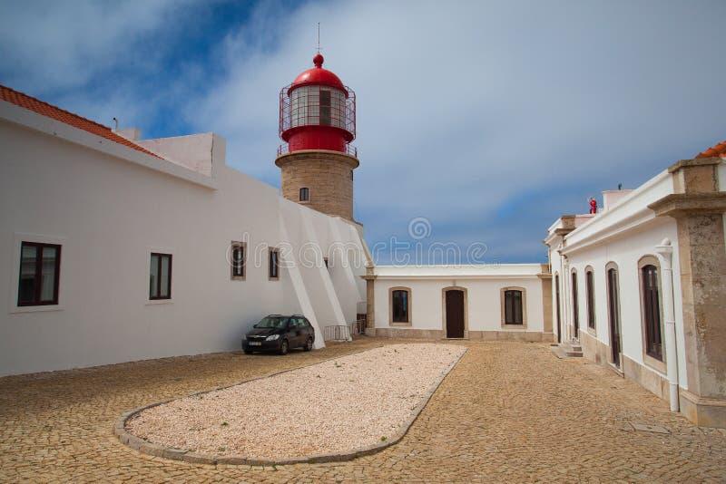 Fyr av Cabo de Sao Vicente, Sagres, Algarve, Portugal arkivbild