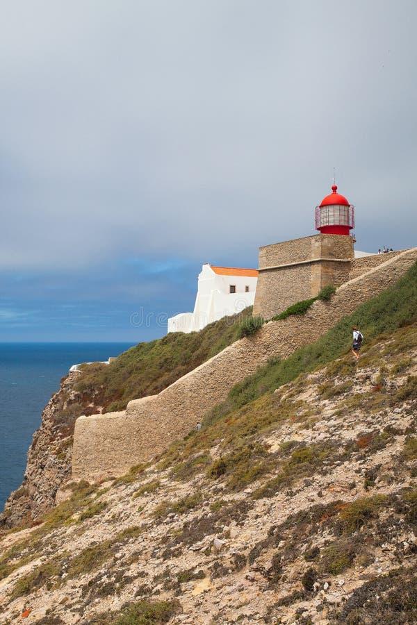 Fyr av Cabo de Sao Vicente, Sagres, Algarve, Portugal fotografering för bildbyråer