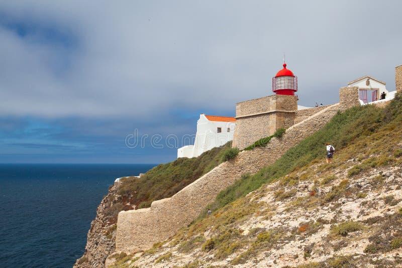Fyr av Cabo de Sao Vicente, Sagres, Algarve, Portugal royaltyfria bilder