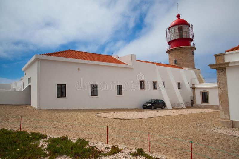 Fyr av Cabo de Sao Vicente, Sagres, Algarve, Portugal arkivbilder