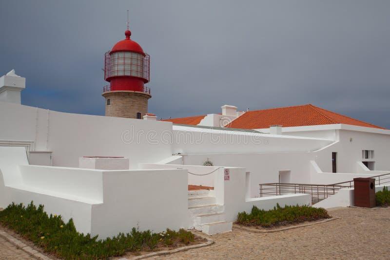 Fyr av Cabo de Sao Vicente, Sagres, Algarve, Portugal (buil royaltyfri foto