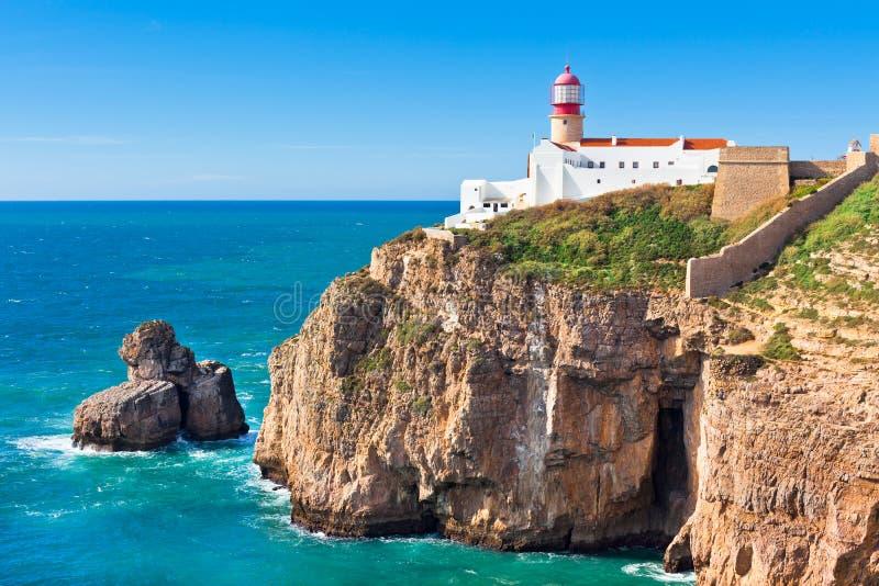 Fyr av Cabo Sao Vicente, Sagres, Portugal royaltyfria bilder