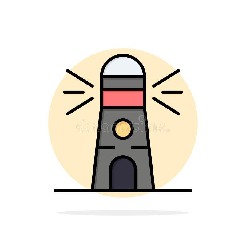 Fyr byggnad, navigering, symbol för färg för bakgrund för husabstrakt begreppcirkel plan vektor illustrationer