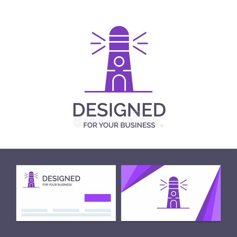 Fyr för idérik mall för affärskort och logo, byggnad, navigering, husvektorillustration vektor illustrationer