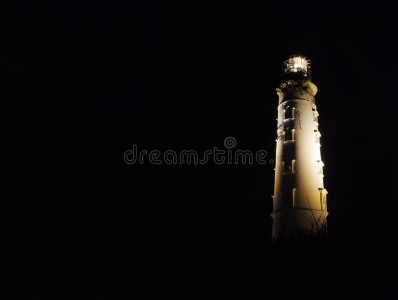 Fyr för nattförskjutningar på udde Khersones, Krim efter mörker royaltyfri foto