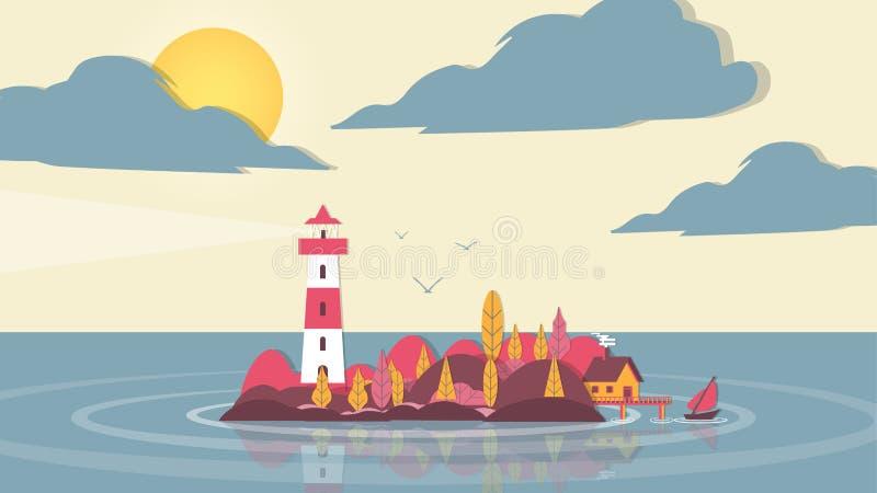 fyr för Papper-snitt stilApplique på den lilla ön med hus a royaltyfri illustrationer