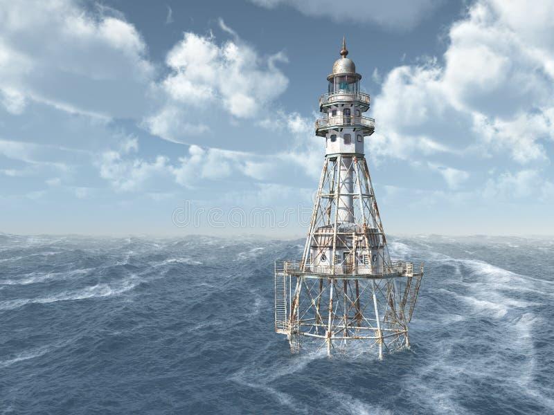 Fyr i det stormiga havet stock illustrationer