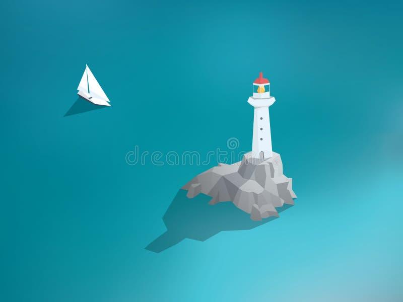 Fyr i havet Låg poly designbyggnad Hav royaltyfri illustrationer