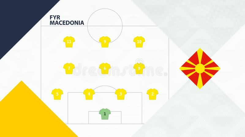 FYR Macedonia team preferred system formation 4-3-3, Macedonia football team background for European soccer competition.  royalty free illustration