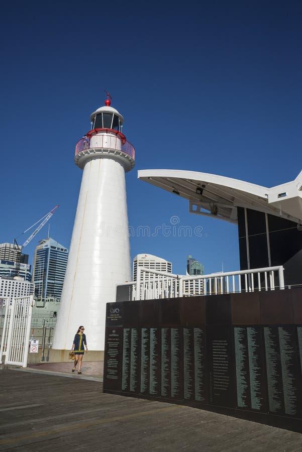 Fyr nationellt maritimt museum, Darling Harbour, Sydney, Australien royaltyfri bild