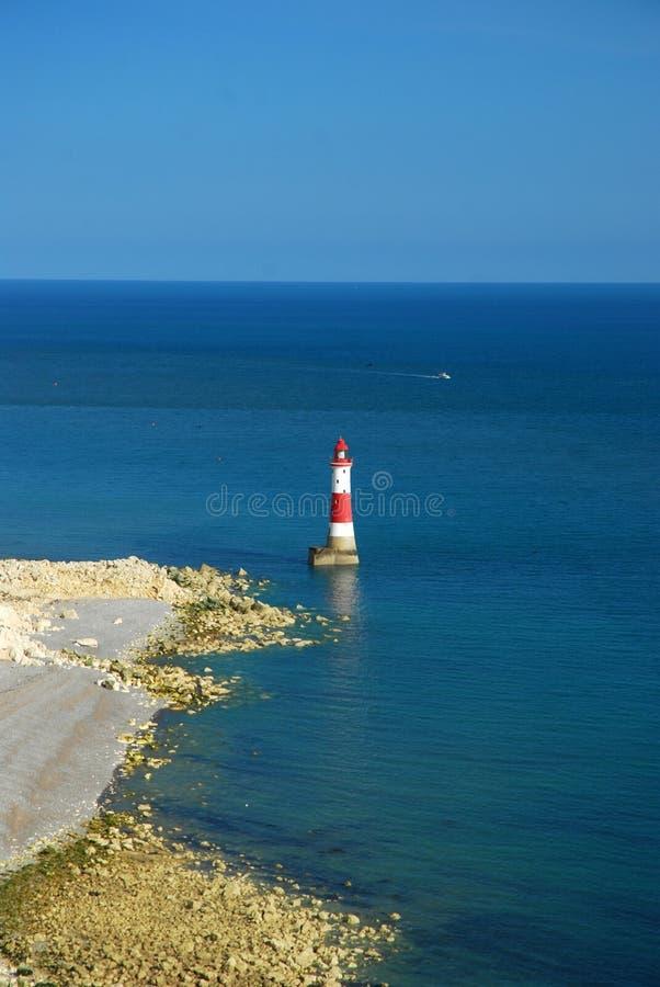 Fyr och havet, södra England, UK royaltyfria bilder