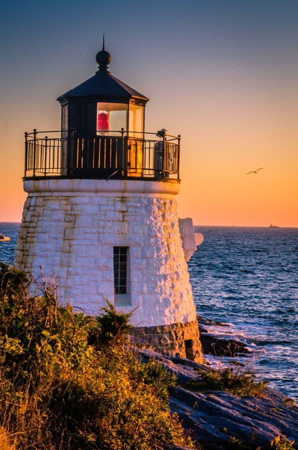 Fyr och Seagull på solnedgången arkivfoto