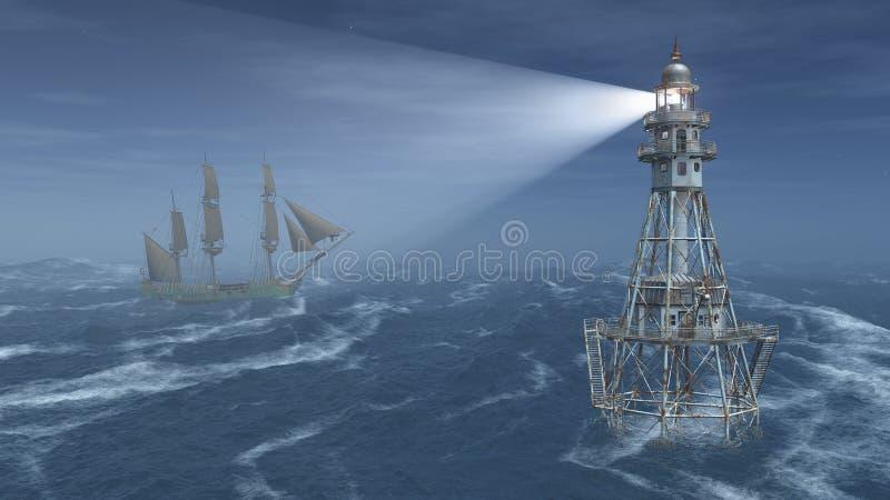 Fyr och seglingskepp på natten royaltyfri illustrationer