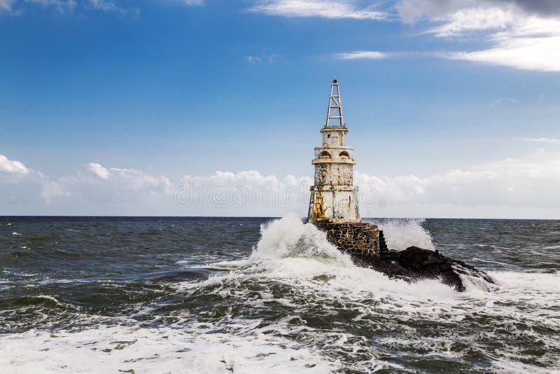 Fyr och sjöväg fotografering för bildbyråer