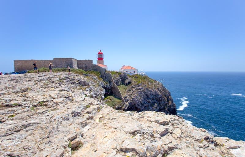 Fyr på Cabo de Sao Vicente, Algarve, Portugal royaltyfri fotografi
