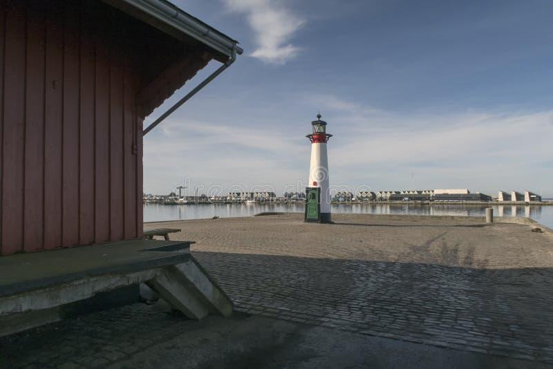 Fyr på danskahamn fotografering för bildbyråer