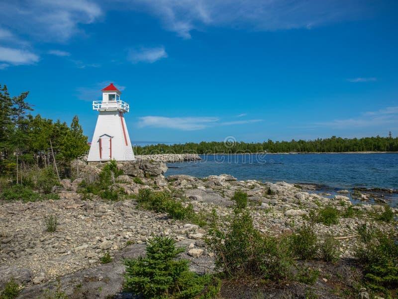 Fyr på den Manitoulin ön, Ontario, Kanada arkivfoton