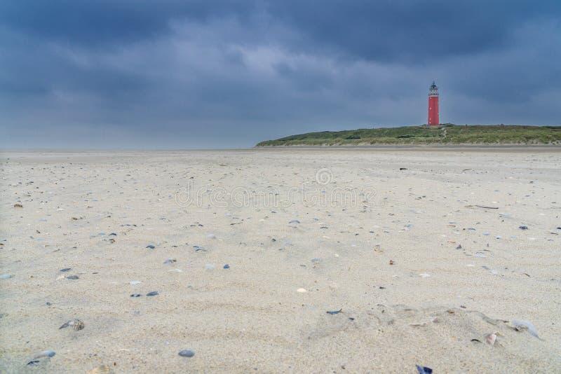 Fyr på den Texel ön arkivbild