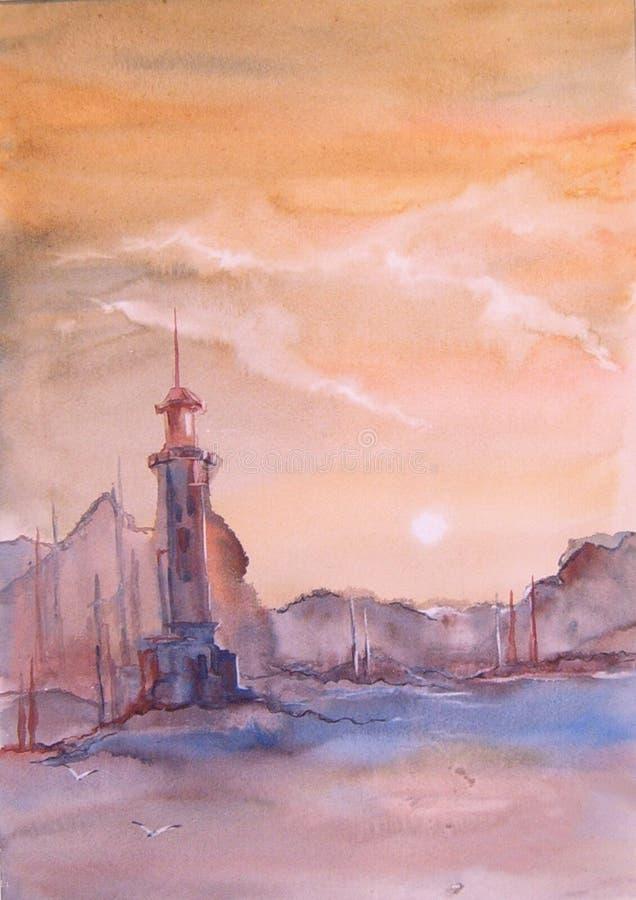 Fyr på havsvattenfärgmålning royaltyfri illustrationer