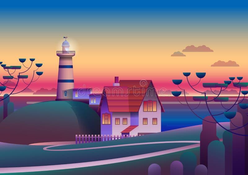 Fyr på kust med aftonhavet på bakgrund - plan vektorillustration vektor illustrationer