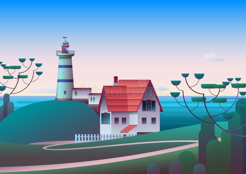 Fyr på kust med morgonhavet på bakgrund - plan vektorillustration vektor illustrationer