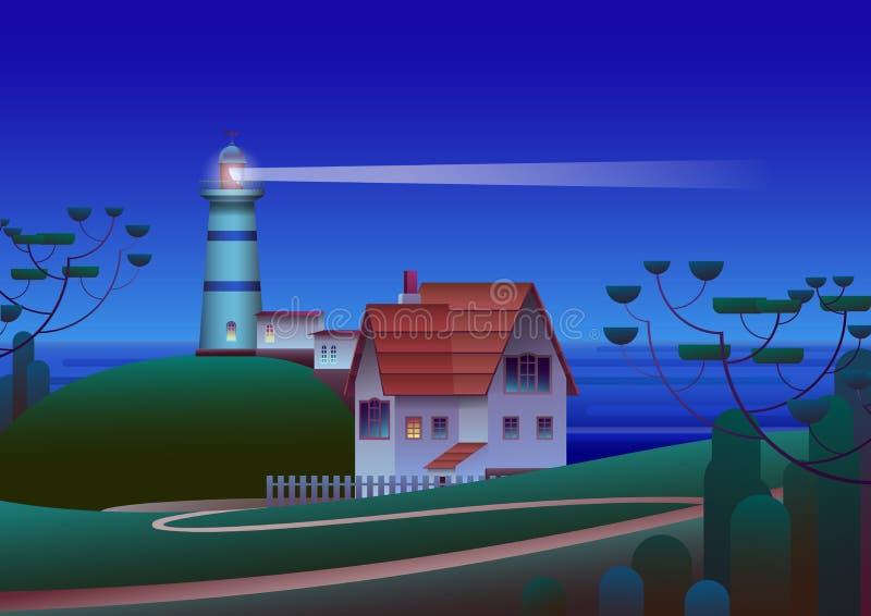 Fyr på kust med natthavet på bakgrund - plan vektorillustration royaltyfri illustrationer