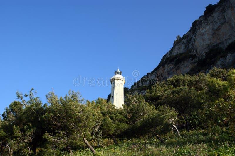 Fyr på kusten av medelhavet, Sicilien, Italien arkivfoton