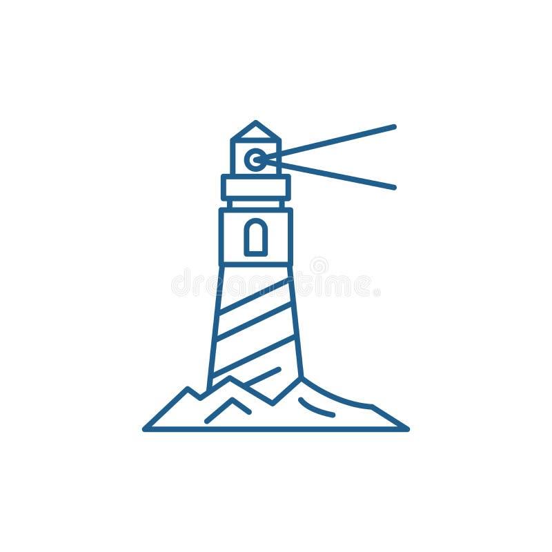 Fyr på kustlinjen symbolsbegrepp Fyr på det plana vektorsymbolet för kust, tecken, översiktsillustration vektor illustrationer