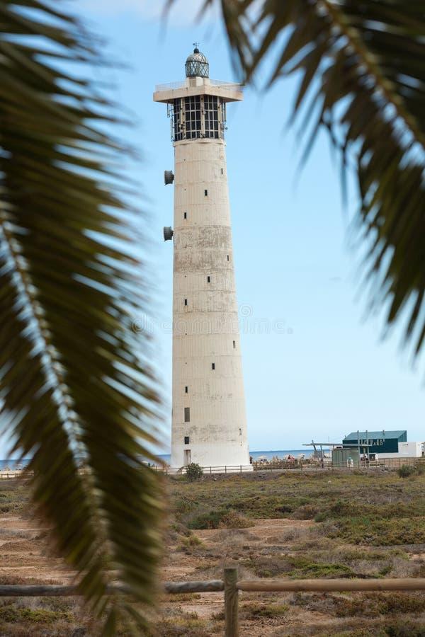 Fyr på Playa del Matorral, Jandia Morro Jable, Fuerteventura royaltyfri foto