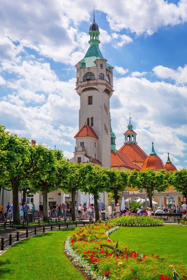 Fyr på Sopoten Molo, Polen royaltyfri foto