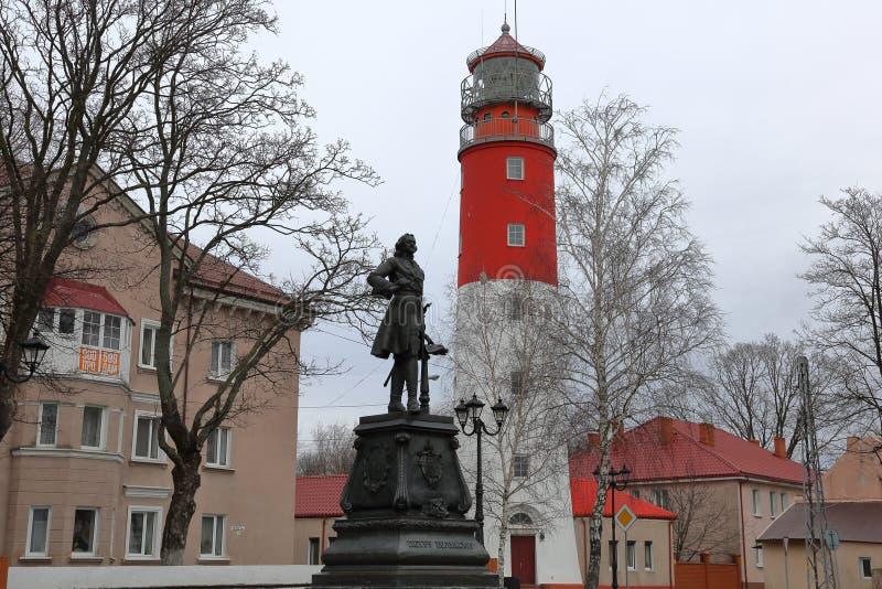 Fyr Pillau, Baltiysk, Ryssland arkivbilder