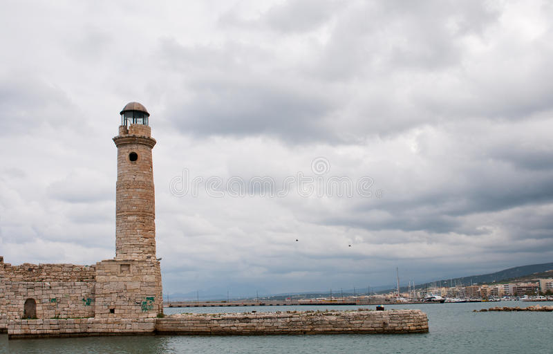 Fyr Rethymno Crete arkivfoto