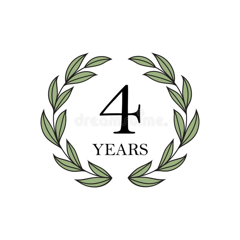 Fyra år årsdag med den blom- lagerkransen royaltyfri illustrationer