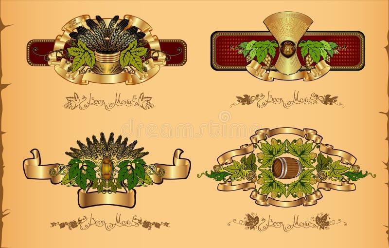 Fyra öllyxetiketter på tappningbakgrund med flygturkorn vektor illustrationer