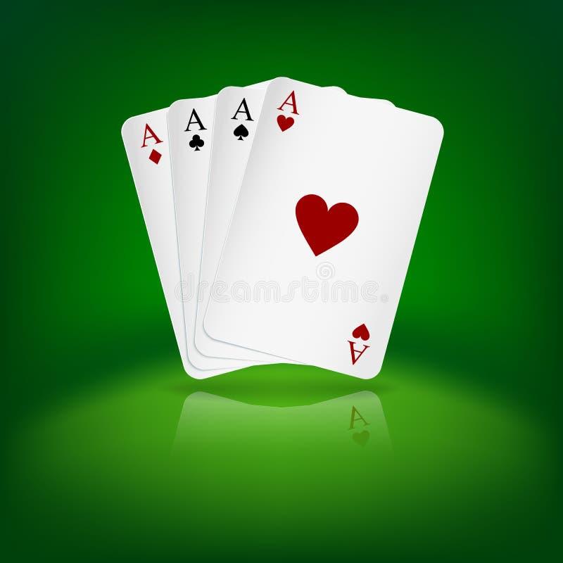 Fyra överdängare som spelar kort på grön bakgrund. royaltyfri illustrationer