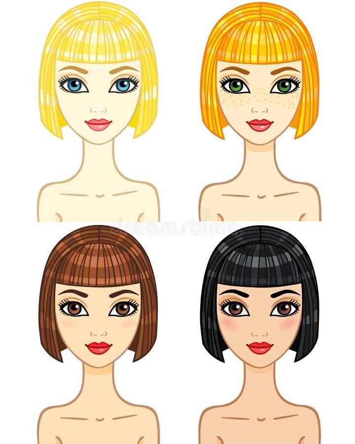 Fyra animeringflickor stock illustrationer