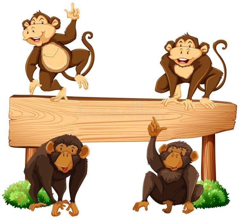 Fyra apor och trätecken royaltyfri illustrationer
