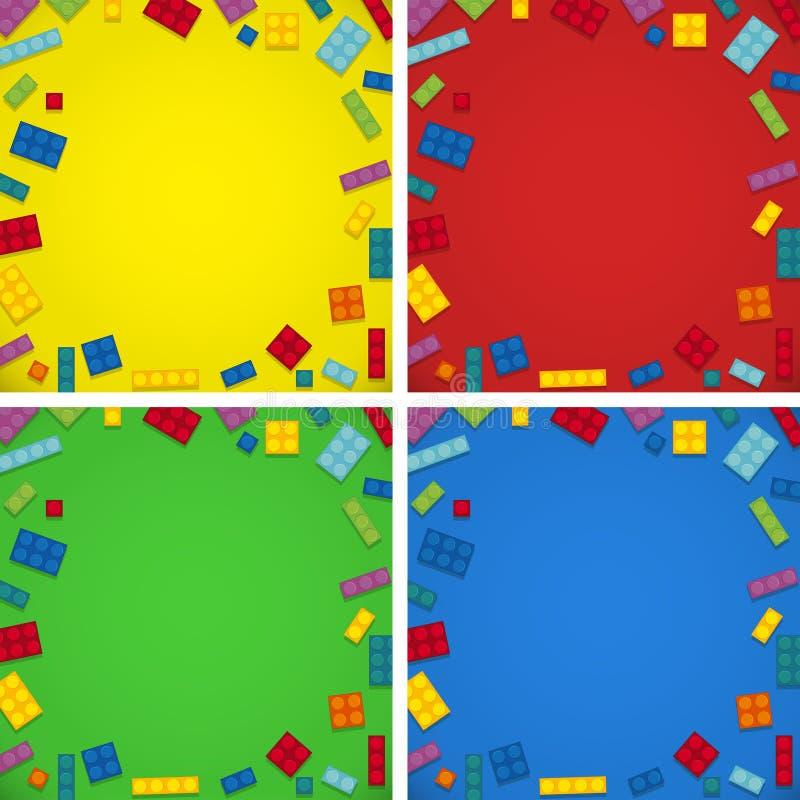 Fyra bakgrundsmallar med färgrika kvarter stock illustrationer