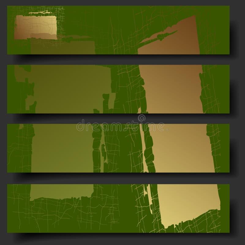 Fyra baner för vektor 3D med hand-dragen abstrakt bakgrund vektor illustrationer