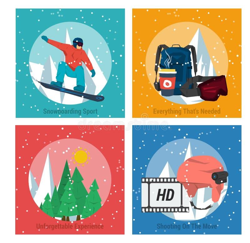 Fyra begreppssnowboardingsportar royaltyfri illustrationer