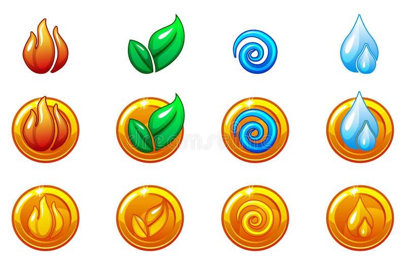 Fyra beståndsdelnatursymboler, guld- rund symboluppsättning Vind brand, vatten, jordsymbol royaltyfri illustrationer