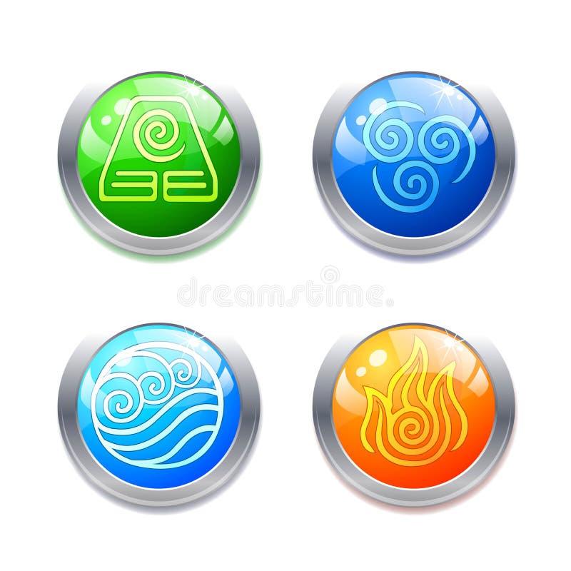 Fyra beståndsdelsymboler och symboler för alternativ energi på vit bakgrund royaltyfri illustrationer