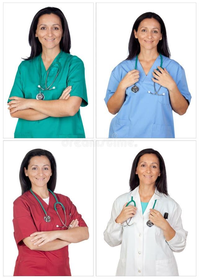 Fyra bilder av en nätt kvinnadoktor royaltyfri bild