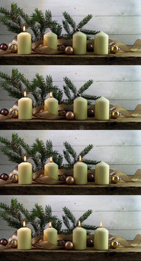 Fyra bilder av vita adventstearinljus som tänds en efter othen royaltyfri fotografi