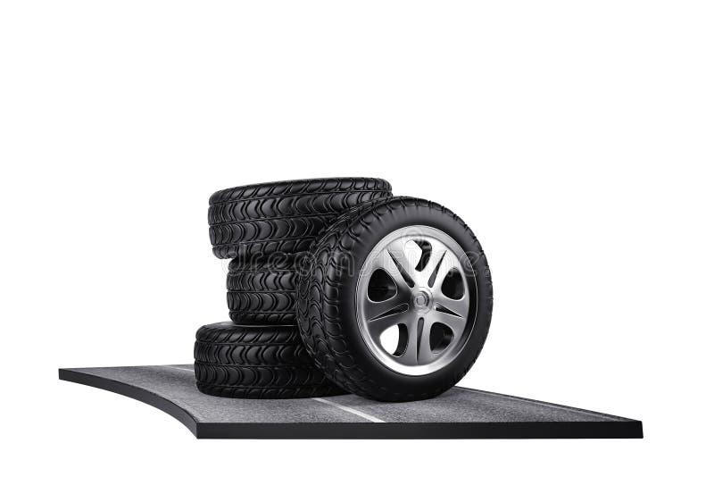 Fyra bilgummihjul på asfalten Isolerat på vit 3d framför royaltyfri illustrationer