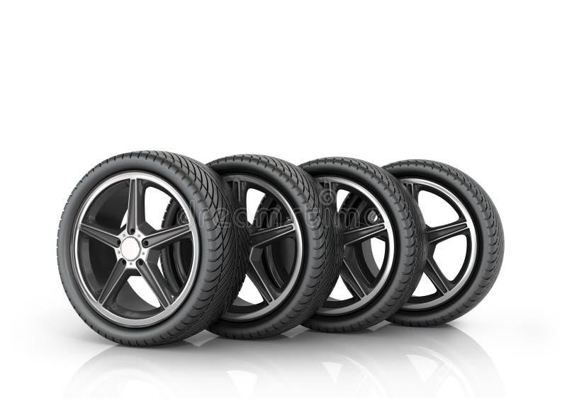 Fyra bilhjul stock illustrationer