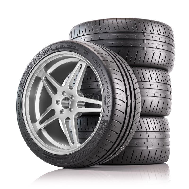 Fyra bilhjul Nya blanka däck 3d-rendering stock illustrationer