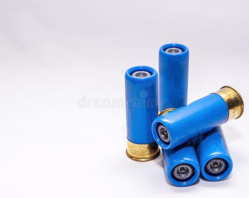 Fyra blå, upphöjda 12-gauge hagelgevär royaltyfria bilder