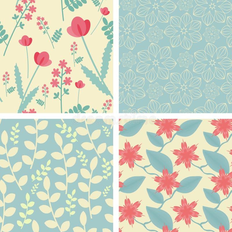 Fyra blom- seamless mönstrar royaltyfri illustrationer