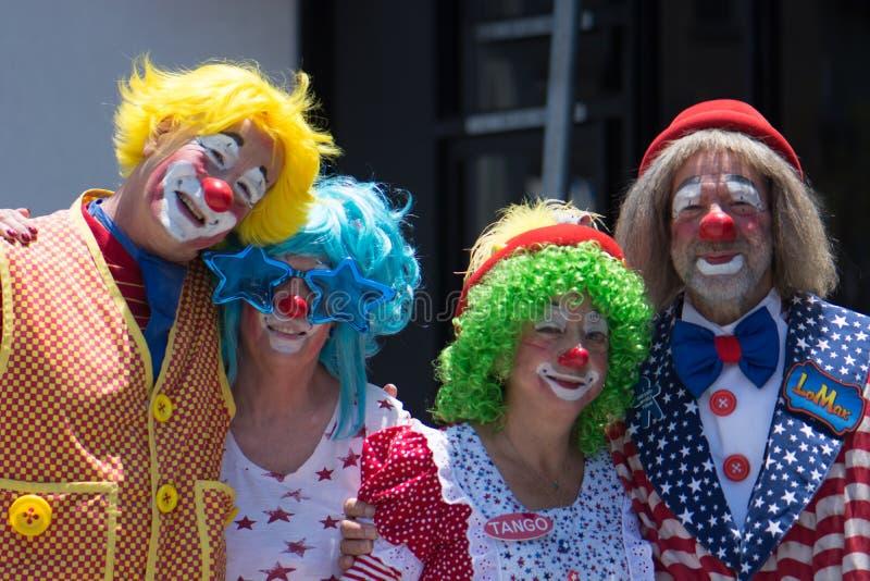 Fyra clowner royaltyfria foton
